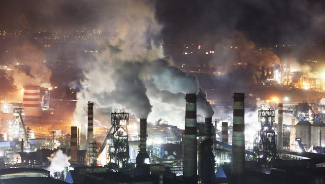 Steel plants on the western side of Qian'an city in northern China's Hebei province, on Oct. 18, 2014.