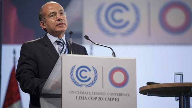 Former Mexican President Felipe Calderon, during a U.N. Climate Change Conference in 2014.