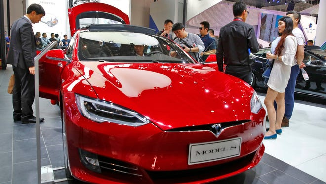 A Tesla model S electric car is on display at the Auto China 2016 motor show in Beijing, China, 26 April 2016.