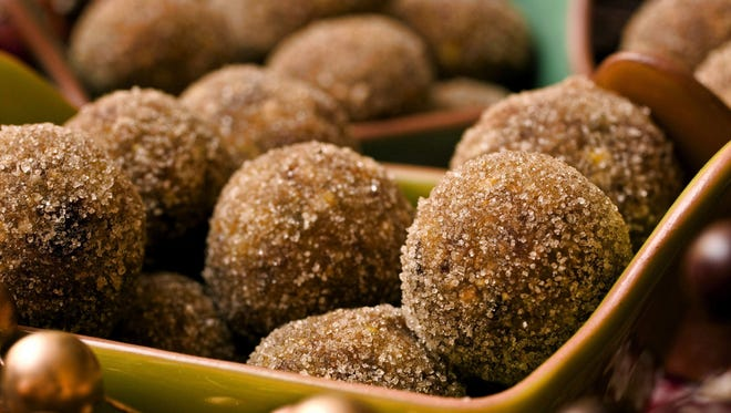 Fruit and nut balls are a healthier alternative to cheese balls and other holiday treats.