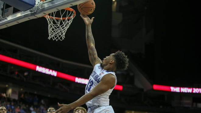 Myles Powell drives for a layup in Seton Hall's win over Central Connecticut State on Sunday