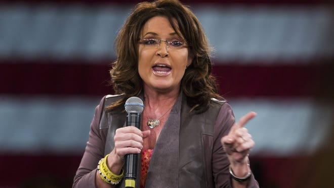 Former Alaska Governor Sarah Palin speaks at a campaign event for Republican presidential candidate Donald Trump at the Tampa Convention Center in Tampa, Florida, USA, 14 March 2016. The winner-take-all Florida presidential primary is on 15 March 2016.