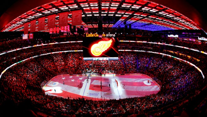 A general view during the national anthem prior to a game between the Detroit Red Wings and Minnesota Wild at Little Caesars Arena this season.