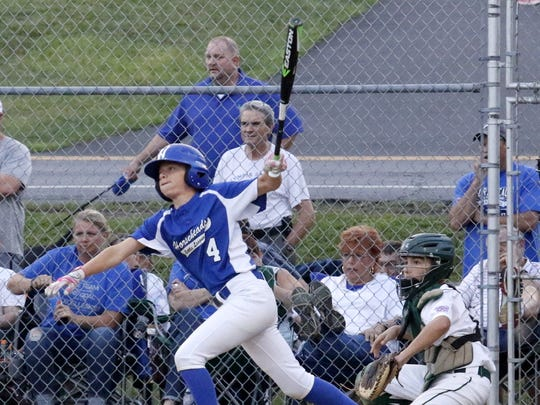 Lucas Granger connects for a single for Horseheads in a 25-1 win over Fayetteville-Manlius in the Section 1 East Little League 10-12 championship game Thursday night at Horseheads.