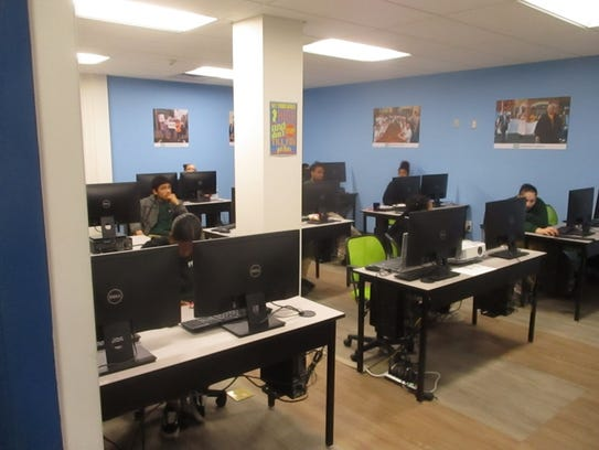The computer lab for Paterson's new Great Falls Youth