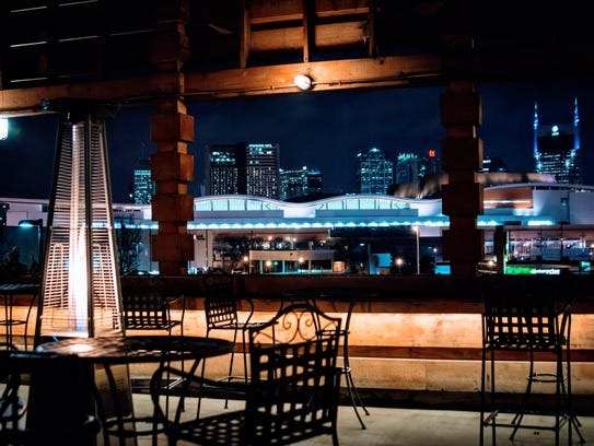 The night view of Nashville from atop City Winery can't