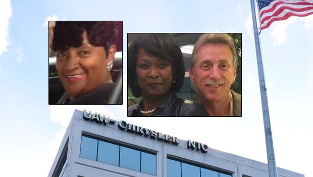 The UAW-Chrysler National Training Center in Detroit. Inset: Virdell King, Nancy Johnson and Norwood Jewell.