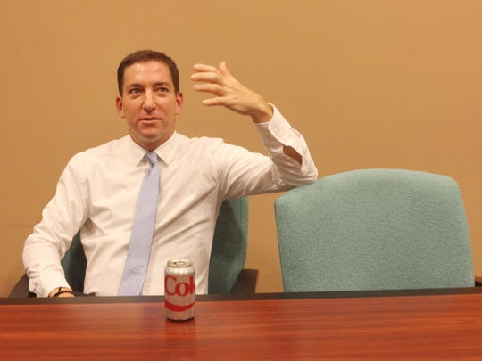 Glenn Greenwald, American journalist based in Brazil, speaks with The Desert Sun before his speech at The Annenberg Center for Health Sciences in Rancho Mirage on March 22, 2016.