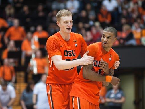 Oregon State Beavers forward Olaf Schaftenaar (left)