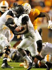 Vanderbilt running back Ralph Webb (7) finds an opening