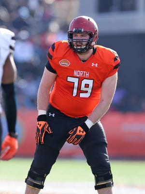 Jan 30, 2016; Mobile, AL, USA; North squad offensive tackle Cole Toner of Harvard (79) in the second quarter of the Senior Bowl at Ladd-Peebles Stadium.
