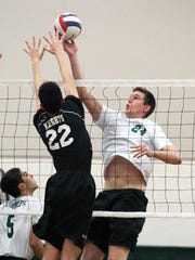 St. Joseph vs. Old Bridge boys volleyball in the GMC Tournament semifinals in Metuchen on Thursday May 19, 2016.