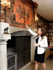 Cheekwood's Leslie Jones shows a decorative fireplace