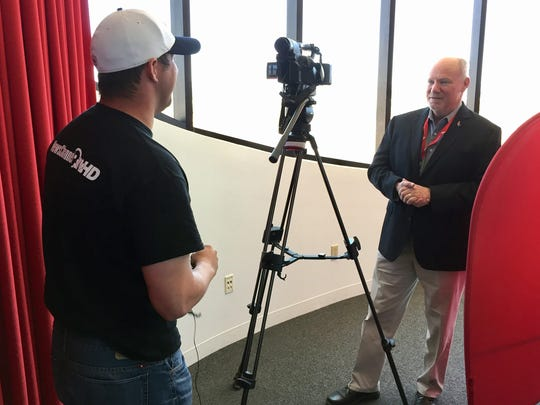 Patrick Hayes, a reporter with KTSM-TV in El Paso, interviews Spaceport America CEO Dan Hicks at the spaceport in April. In response to Hayes' recent requests to review documents, Hicks' agency violated the state's Inspection of Public Records Act four times, the state Attorney General's Office determined last week.