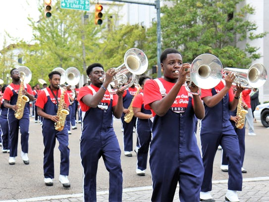 Lane College's marching band performs during the Homecoming