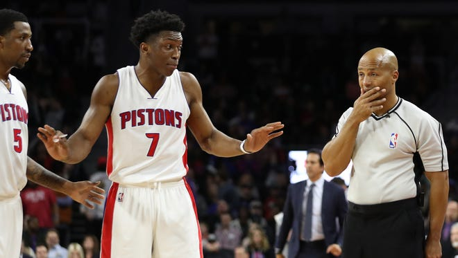 Detroit Pistons forward Stanley Johnson (7) argues with a referee after being called for a delay of game late in the fourth quarter against the Miami Heat on March 28, 2017, at the Palace of Auburn Hills.