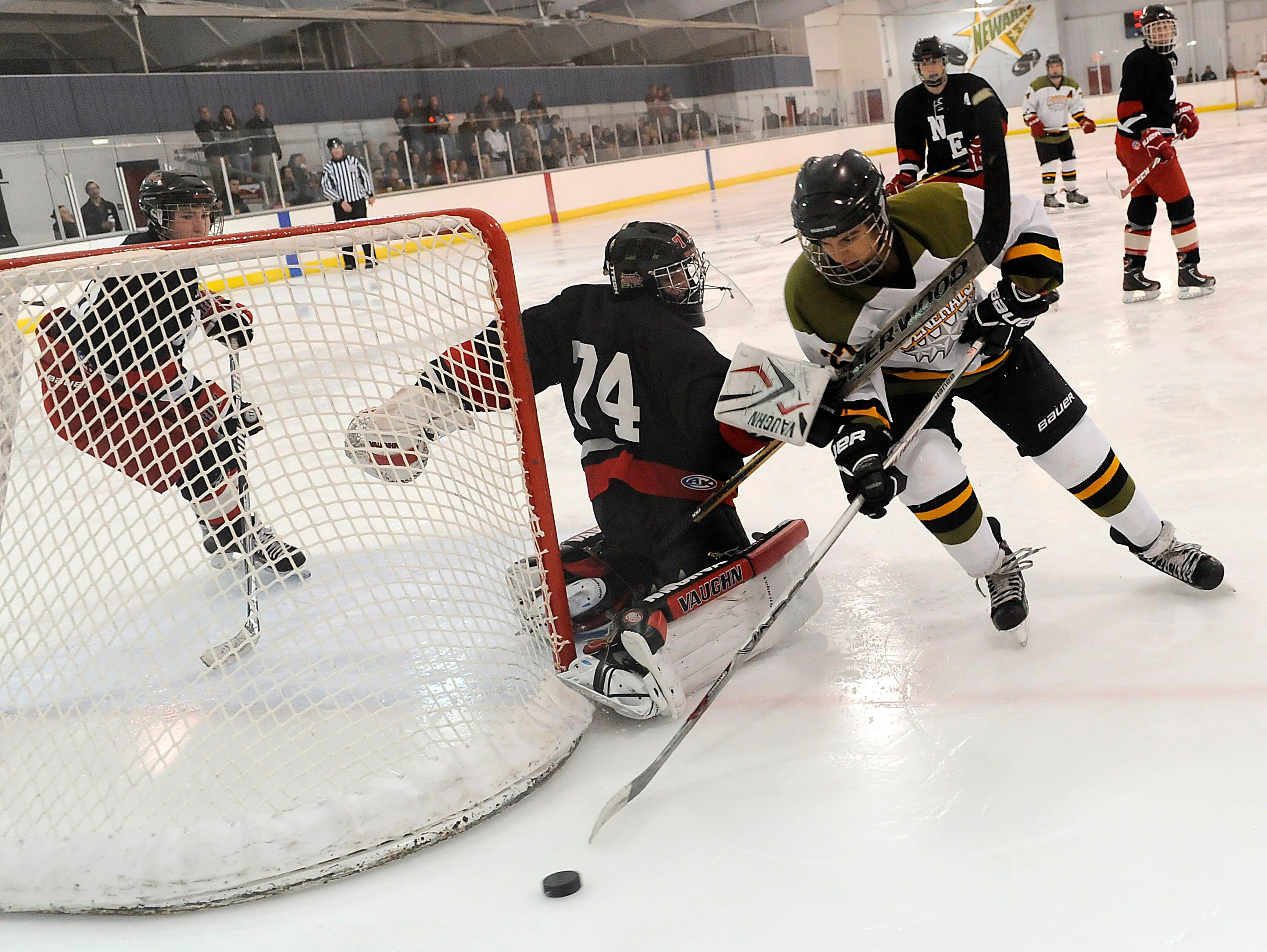 Northeast Storm goalkeeper Jake Deffet blocks Newark Generals' Reese Trowbridge from the net during the Generals 7-0 win on Thursday night.