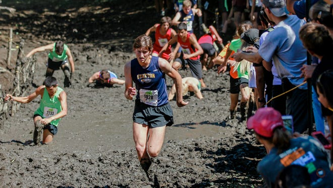 Stayton's Casey Pugh competes in the Ultimook Race Nike Invitational cross country meet in Tillamook on Saturday, Sept. 2, 2017.
