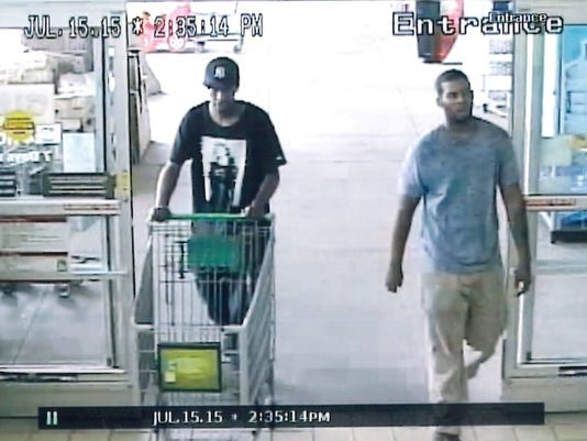 West Manchester Township Police are looking for these men, seen in a surveillance photo at the 1255 Carlisle Road Giant Food store. They and a third man are suspected of stealing $259 worth of shrimp on Wednesday.