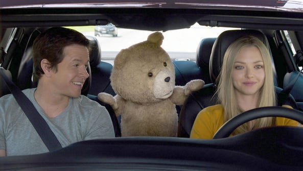 Ted, the talking toy bear, takes a calamity-filled