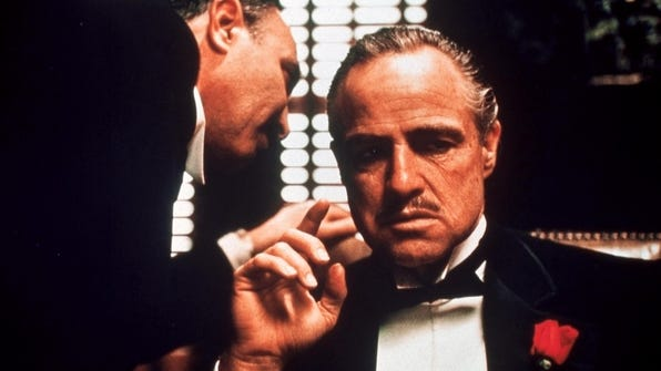 Marlon Brando as Don Vito Corleone in a scene 'The Godfather.'