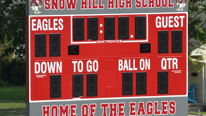 One of two new scoreboards installed at Snow Hill High School's new athletic field.