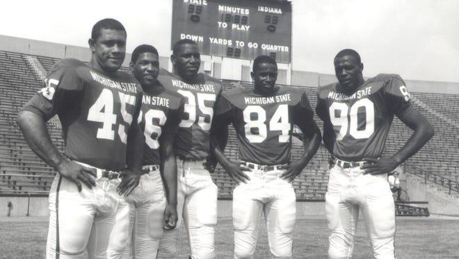 MSU's All-America lineup in 1965, from left: Bob Apisa (45), Clinton Jones (26), Bubba Smith (95), Gene Washington (84) and George Webster (90).