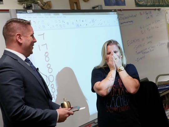 Island Coast High School algebra teacher Samantha Hutchinson is a Golden Apple winner on March 9, 2018.