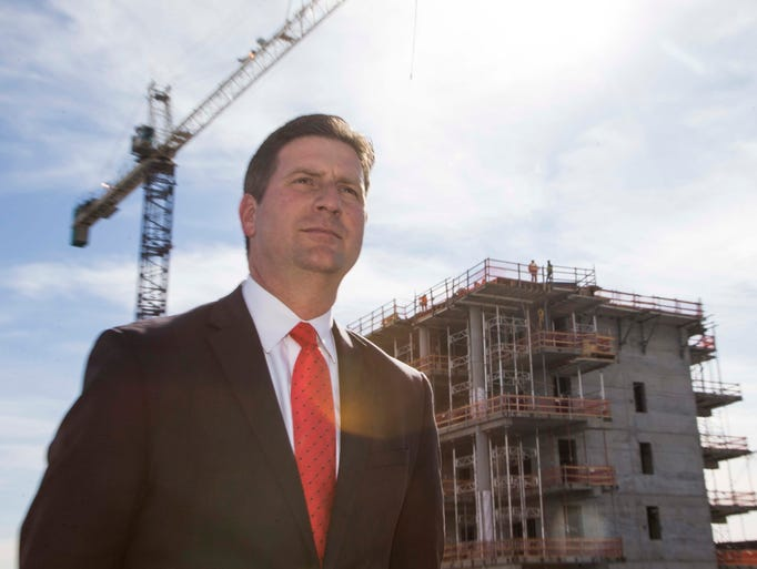 Phoenix Mayor Greg Stanton during the topping-off ceremony