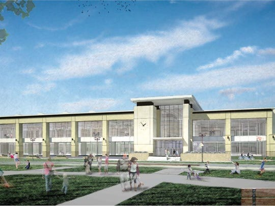 A rendering of the new Ankeny Kirkendall Public Library in Prairie Trail.