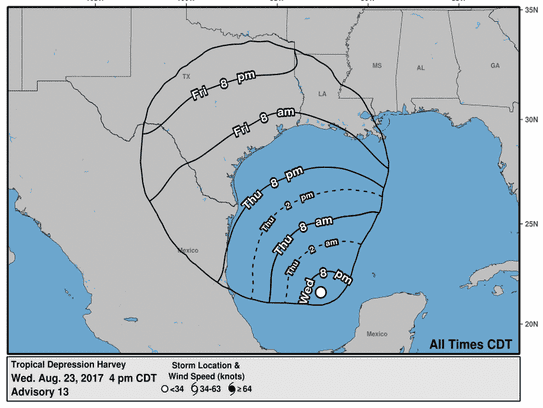 Estimated arrival times of tropical storm-force winds