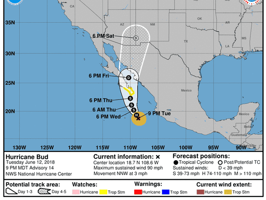 Projected path of Hurricane Bud as of 11 p.m. Tuesday,