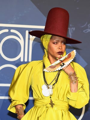 Host Erykah Badu attends the 2016 Soul Train Music Awards at the Orleans Arena.