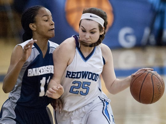 Redwood's Madison Kast drives against Bakersfield's