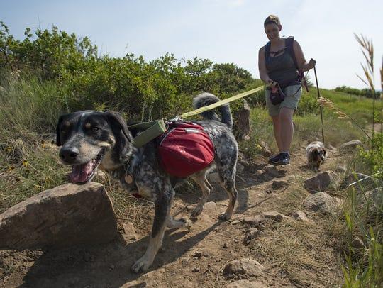 Mindy Sherwood navigates the trail at Reservoir Ridge