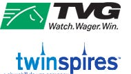 Logos of the two biggest account wagering firms in Kentucky, TVG and TwinSpires.