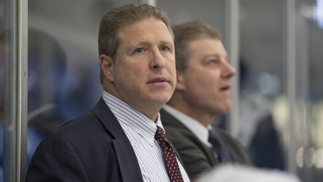 Even though his team lost again Friday, NTDP Under-17 head coach Danton Cole (shown in a 2015-16 photo) sees plenty of growth from his group as it moves up next year to the U18s.