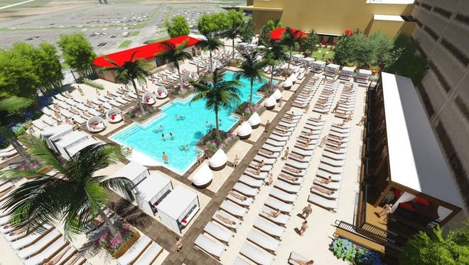 Like practically everything else at Borgata, the 3,200-square-foot pool will be an over-the-top amenity. Guests will relax on over 400 chaise lounges and daybeds or seek shelter from the sun in cabanas.