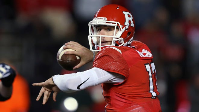 Rutgers quarterback Gio Rescigno (17) throws a pass during the first half of an NCAA college football game against Penn State on Saturday, Nov. 19, 2016, in Piscataway, N.J. (AP Photo/Mel Evans)