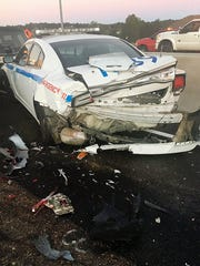 A Jackson police car was struck from behind on I-55 in south Jackson, Miss.