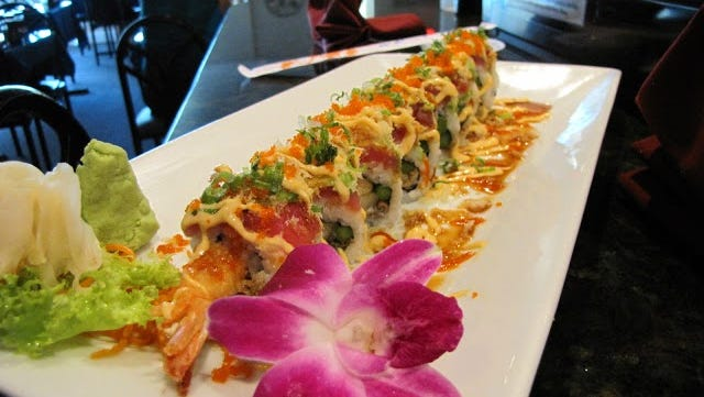 A specialty sushi roll from Rock'n Sushi in Gateway.