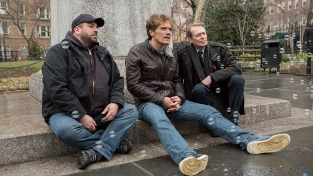 Geo Orlando, Michael Shannon and Steve Buscemi on an episode of the AOL original series 'Park Bench.'