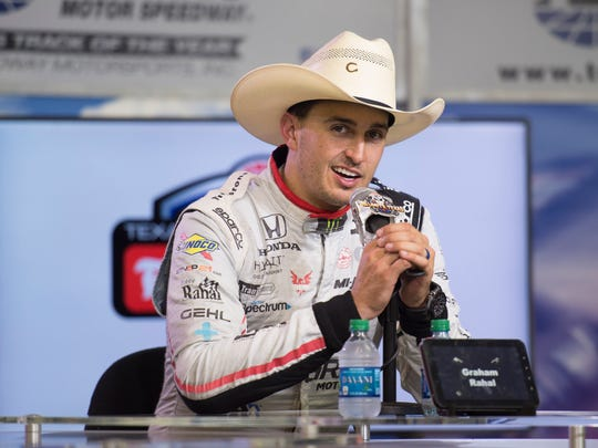 ;  Rahal Letterman Racing driver Graham Rahal (15) of United States is interviewed after winning the Firestone 600 at Texas Motor Speedway.