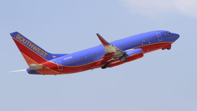 A southwest flight takes off from the Indianapolis International Airport, Sept 27, 2010.