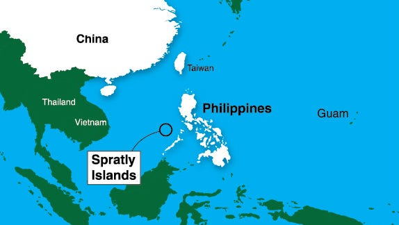 Map depicting Spratly Islands in relation to China and Philippines.