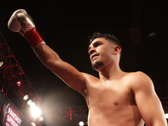 Randy Caballero celebrates his victory over Ruben Garcia at Fantasy Springs Casino on February 5, 2016