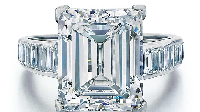 In this image provided by auctioneer Joseph DuMouchelle is the Harry Winston-designed engagement ring which Donald Trump gave to Marla Maples in 1993.
