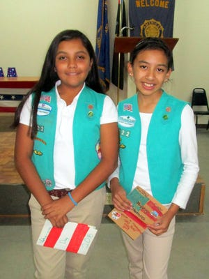 Kaitlyn Rosales, left, and Alexia Dozal and the rest of their Girl Scout troop celebrated Veterans Day at The American Legion Post 598 in Horizon City on Nov. 11.