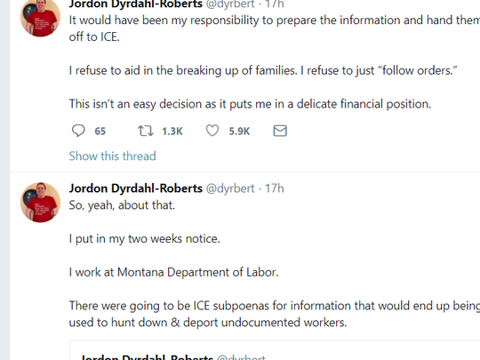 Jordon Dyrdahl-Roberts says via Twitter that he is going to quit his state job over federal immigration issues.