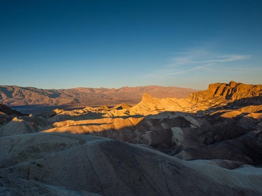 Zabriskie Point is composed of sediments from Furnace Creek Lake which dried up five million years ago, before Death Valley existed.
